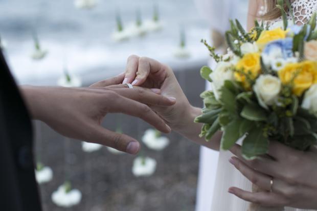 Boho style wedding in Santorini