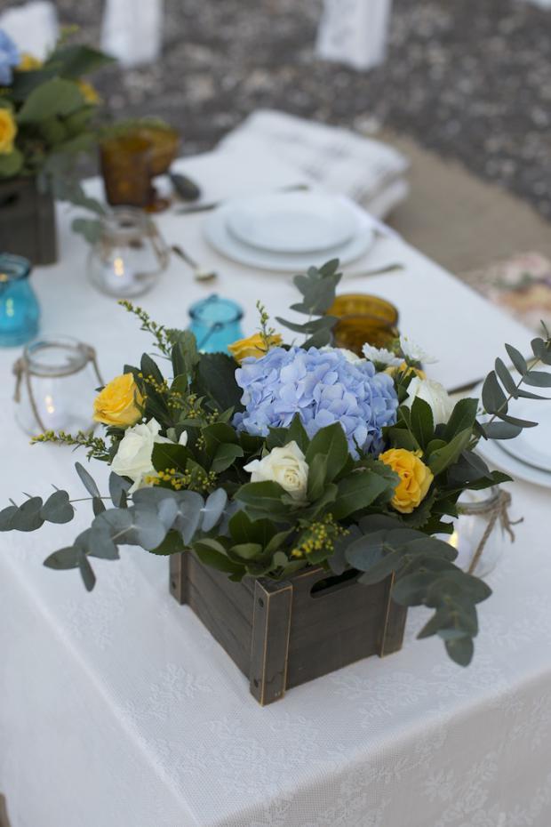 Boho Style wedding in Santorini-yellow & dusty blue