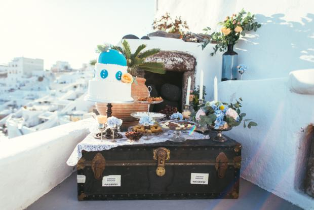 Santorini wedding- Dessert table
