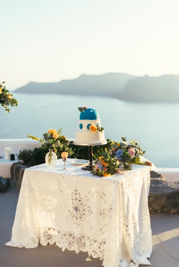Santorini wedding cake