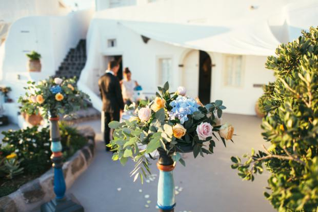 Wedding in Santorini- blue and peach