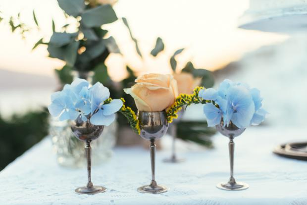 Vintage centerpiece- Santorini wedding