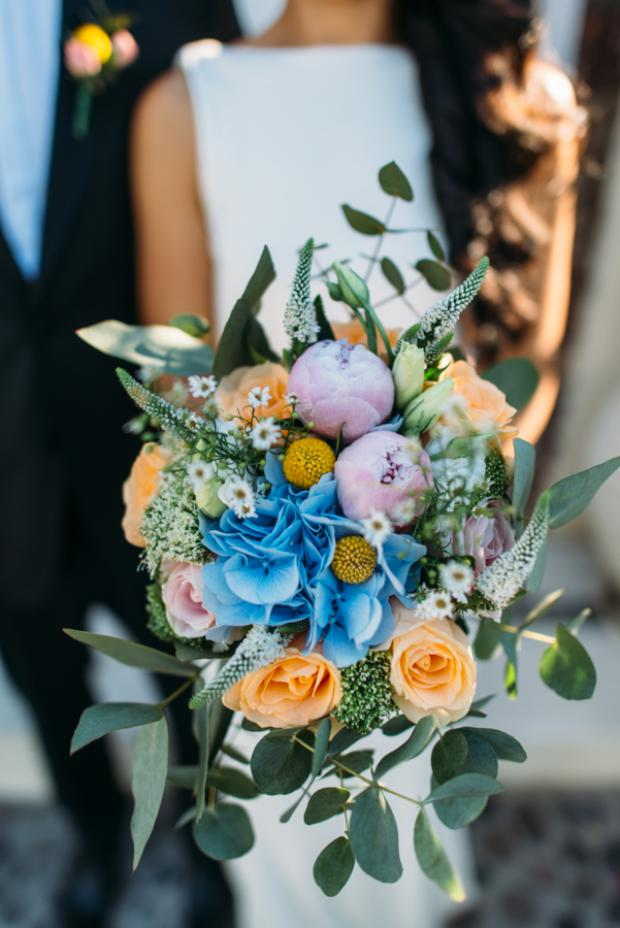 Blue & orange bridal bouquet
