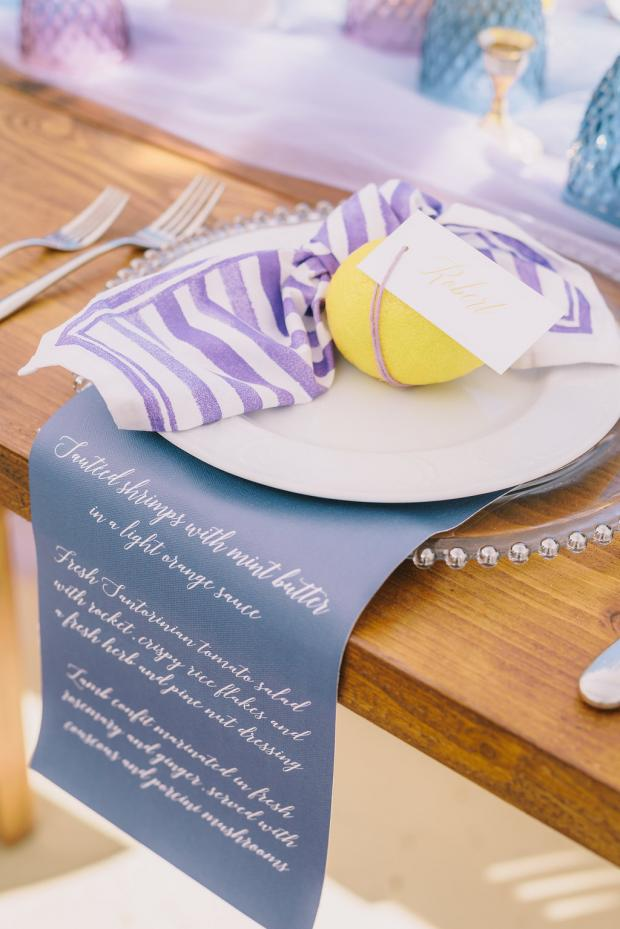 Lemon tablescape- calligraphy menu