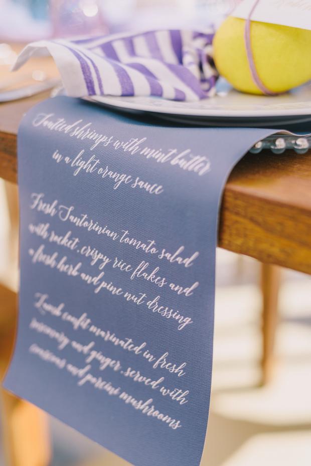 Calligraphy wedding menu