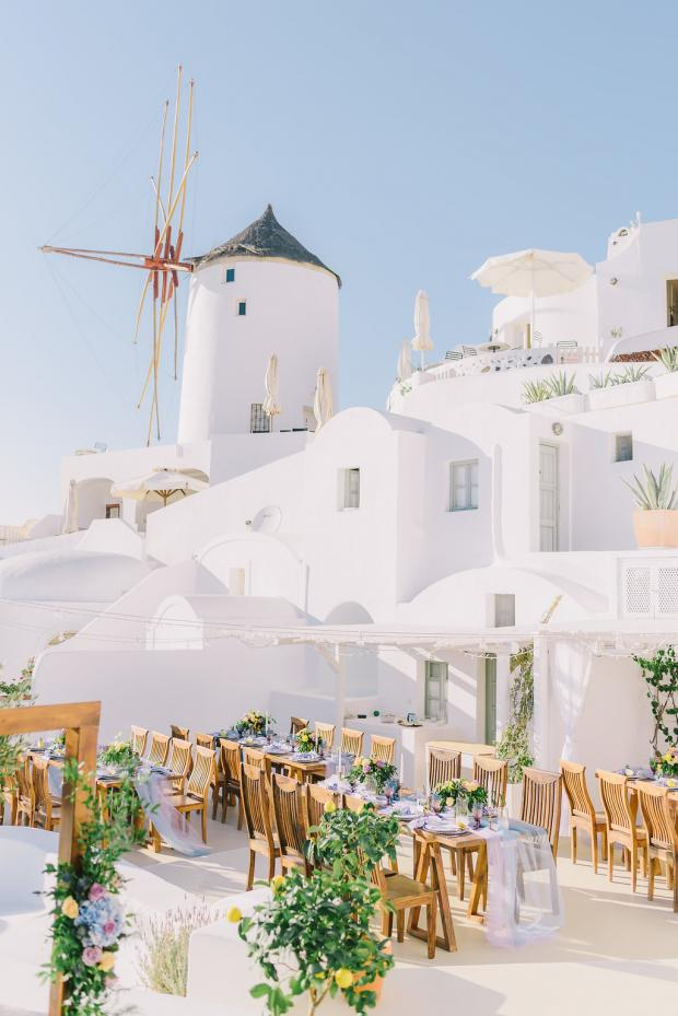 Under the windmill wedding in Santorini