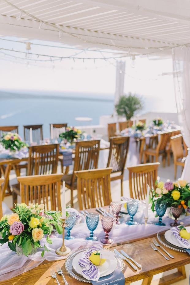 Blue, purple and yellow wedding tablescape