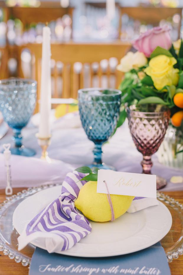 Blue and purple goblets- Wedding dinner