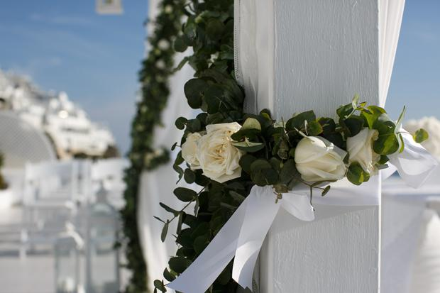 Wedding ceremony decorations- Santorini wedding