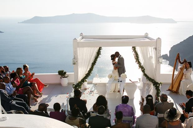 Elegant wedding in Greece by Tie the Knot in Santorini