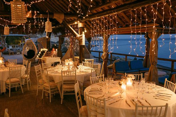 Santorini wedding- fairy lights decor