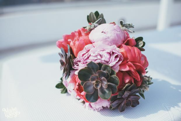 Wedding in Santorini-peonies & succulents bouquet