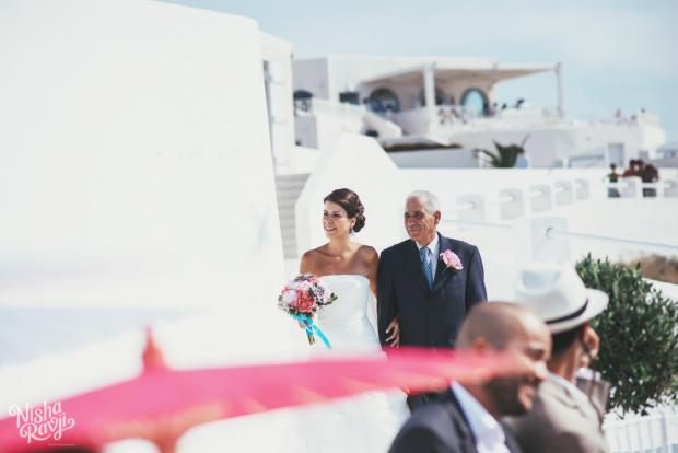 Wedding in Santorini-walking down the aisle