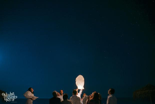 Santorini wedding reception- flying lanterns