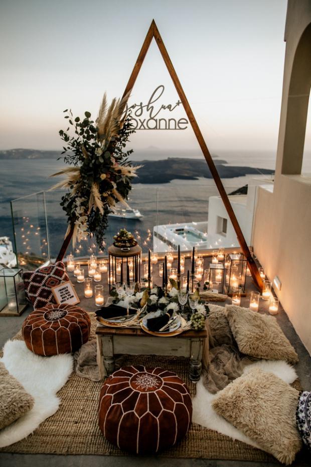 Bohemian and modern wedding dinner -crystal glasses