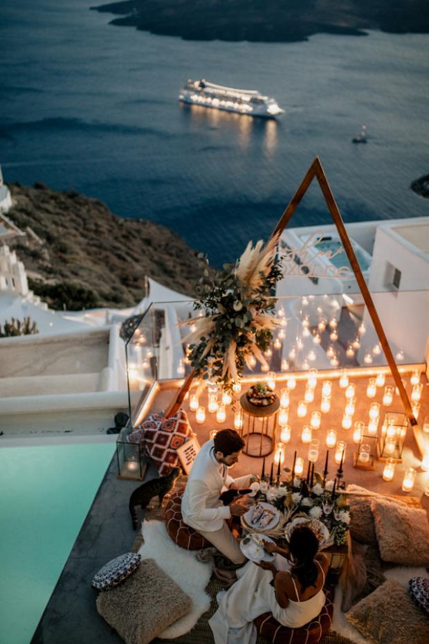 Bohemian and modern wedding dinner