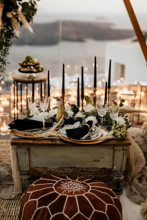 Bohemian and modern wedding dinner