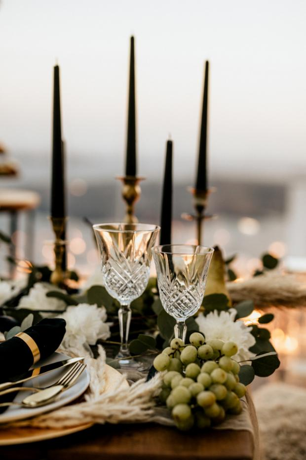 Bohemian and modern wedding dinner- crystal glasses