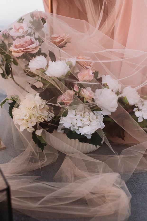 Flowers covered in tulle