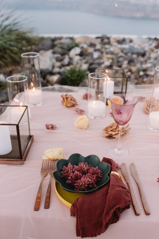 Colorful flower tablescape