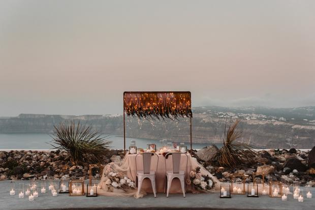 romantic elopement dinner in Santorini