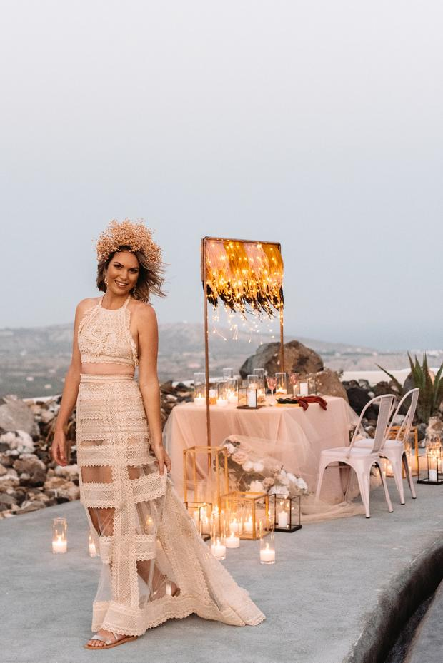 romantic elopement dinner in Santorini- candles and fairy lights