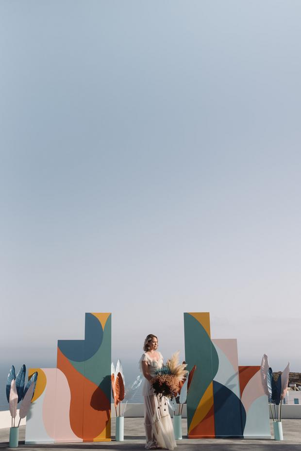 Abstract art wedding ceremony with painted flowers