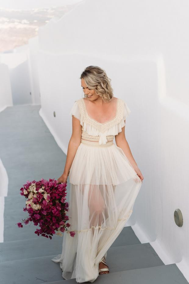 Bohemian wedding dress- Santorini wedding