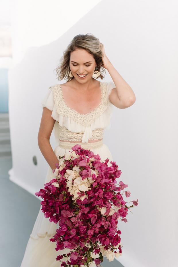 Dried bougainvillea bouquet- Greece wedding
