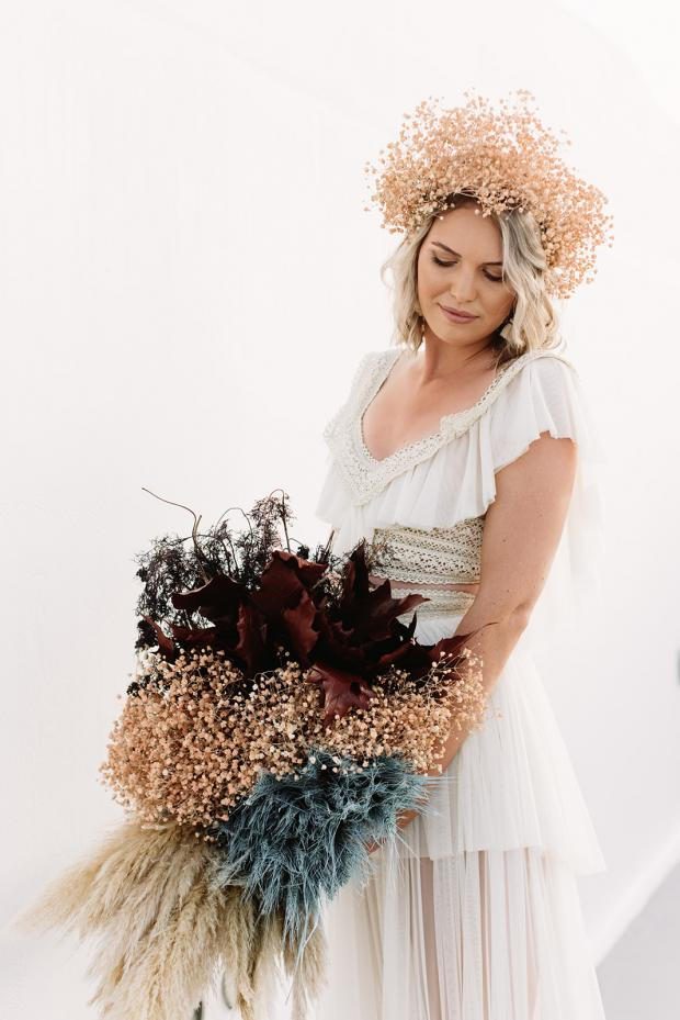 Dyed  dried flowers bouquet and flower crown
