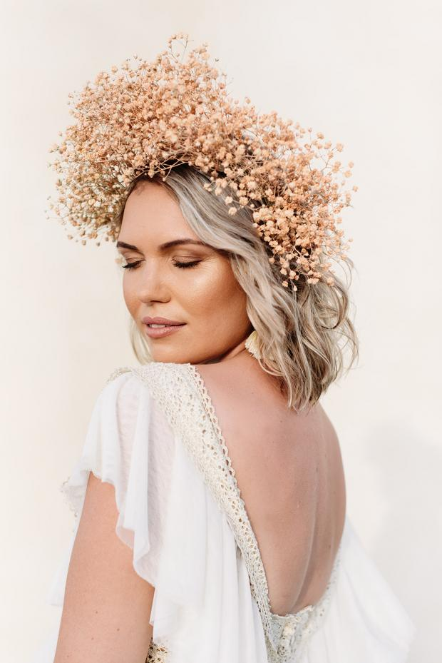 Pink baby's breath flower crown