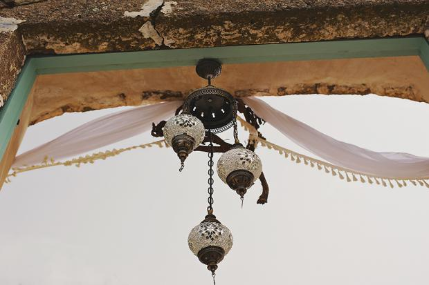 Bohemian wedding in Santorini-Chandelier