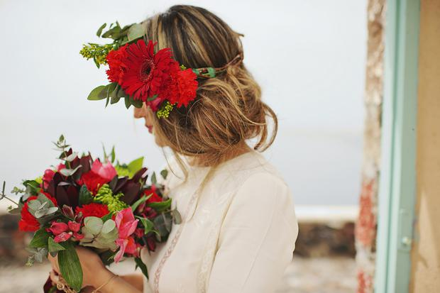 Boho wedding in Santorini- Flower crown