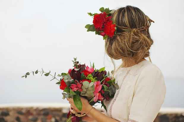 Boho wedding in Santorini- bridal hairstyle