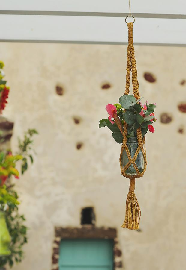 Boho wedding in Santorini- macrame details