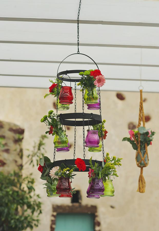 Boho wedding in Santorini- colorful chandelier