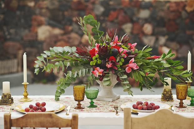 Marsala wedding in Santorini-fruit tablescape