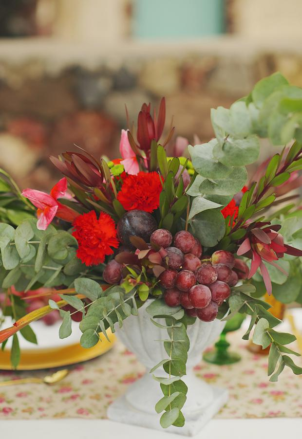 Boho wedding-fruit marsala centerpiece