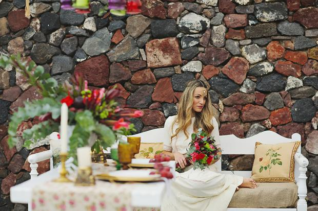 Bohemian Marsala wedding in Santorini