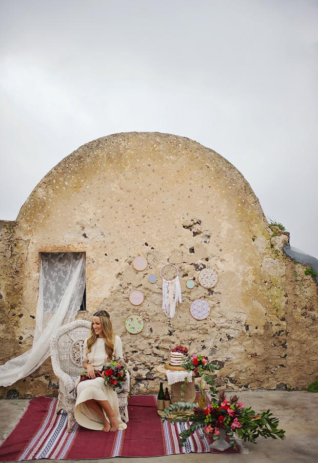 Boho Marsala wedding in Santorini