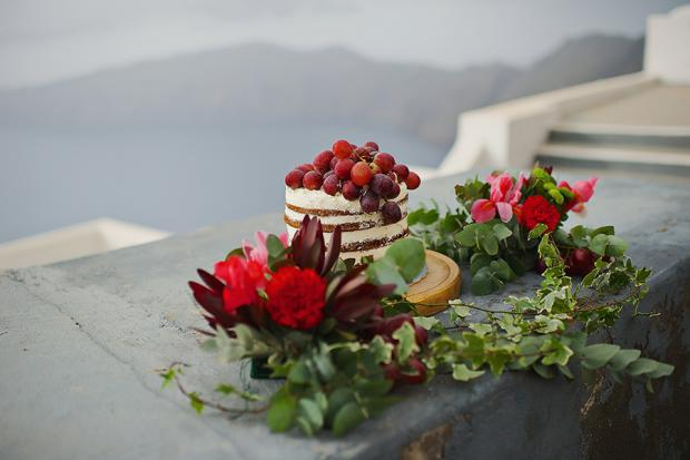 Santorini wedding-naked cake
