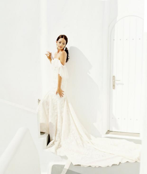 Bride in Berta gown- destination wedding in Greece