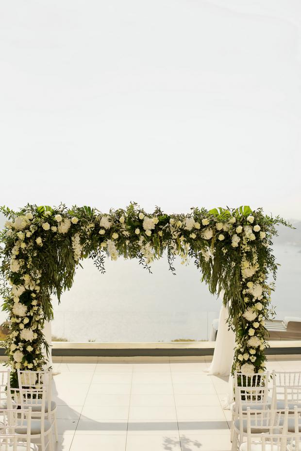 All white & greens wedding ceremony