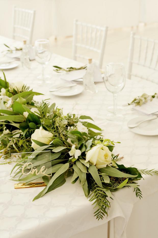 White & green wedding tablescape