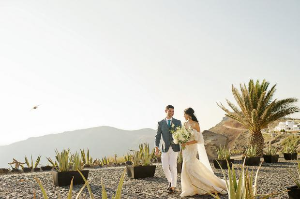 All white, elegant destination wedding  in Greece