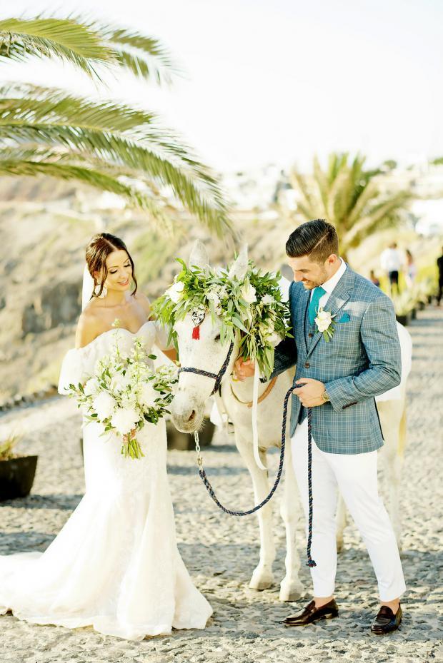 Donkey- wedding in Santorini