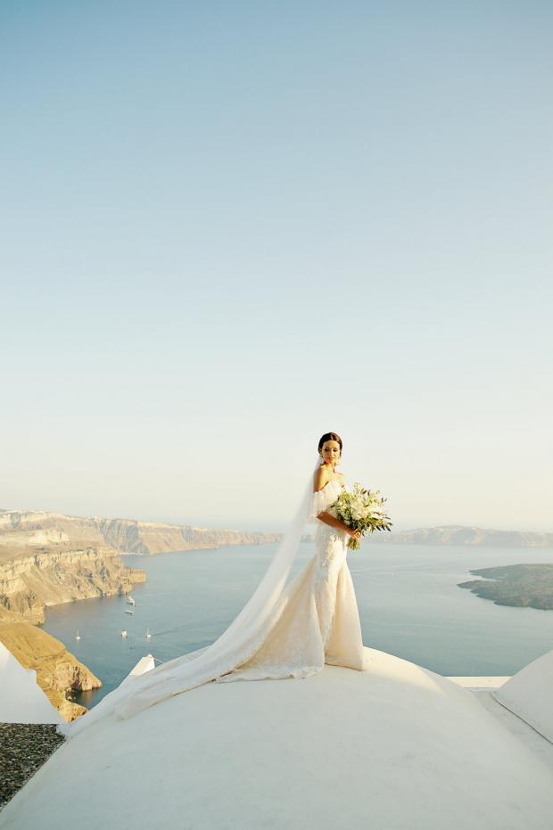 Bride in Berta Gown- Santorini