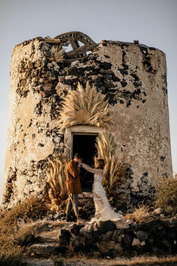 Elopement at an old windmill in Greece- pampas ceremony