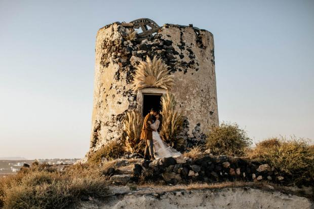 Elopement at an old windmill in Greece