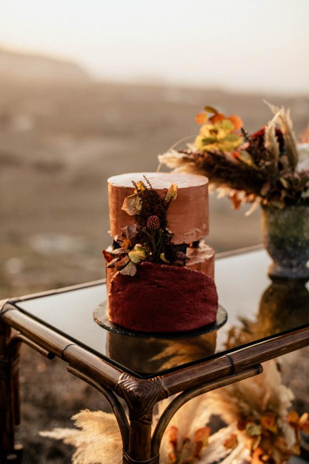 terracotta wedding cake